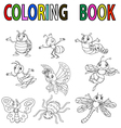 Funny cartoon insect coloring book vector image