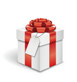 Gift box with a name tag over white background vector image