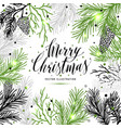 merry christmas greeting card with new years tree vector image