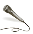 Microphone emblem isolated vector image