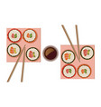 sushi rolls top view flat style vector image