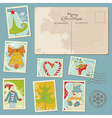 Vintage christmas stamps vector image