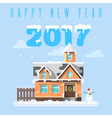 flat style of winter holiday house with snowman vector image