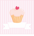 Sweet retro love cupcake pink vintage card vector image
