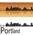 Portland skyline in orange background vector image