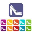 Women shoes on platform icons set vector image