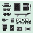 Pixel art hipster isolated set vector image