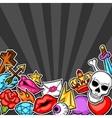 Background with retro tattoo symbols Cartoon old vector image