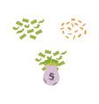 flat bag with dollar cash money coin rain vector image
