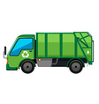 Garbage truck in green color vector image