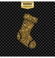 Gold glitter icon of sock isolated on vector image