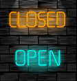 open and closed neon inscription light sign on vector image