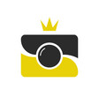 royal shot icon logotype camera wint crown vector image