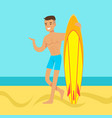 young man walking on the beach with surfboard vector image