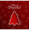 Merry christmas red background with fir tree vector image