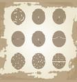 fingerprint collection on grunge vintage backdrop vector image