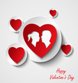 Valentine card with red hearts and lovers vector image