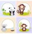 monkey panda koala bears set of cards design vector image