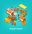 agriculture market isometric composition vector image
