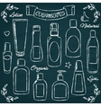 Chalkboard cosmetic bottles set 1 vector image
