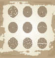 fingerprint collection on grunge vintage backdrop vector image