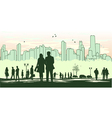 green outline silhouette of the city vector image