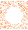 handdrawn doodle fruits and vegetables set vector image