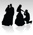 wedding couple silhouette vector image