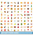 100 tasty food icons set cartoon style vector image