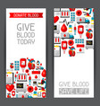 banners with blood donation items medical and vector image
