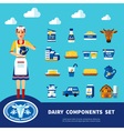 Dairy Components Set vector image