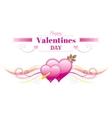 Happy Valentines day border Cupid arrow heart vector image