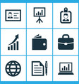 business icons set collection of suitcase vector image