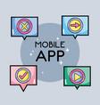 digital mobile app to multimedia information vector image