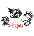 Black danger dragons vector image vector image