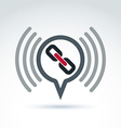 Podcast icon with a link symbol Chat on social vector image