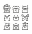 animals set on white background vector image