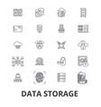 data storage line icons editable strokes flat vector image