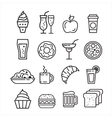 Fast junk food icons set vector image