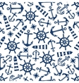 Marine seamless pattern with blue items vector image