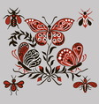 Pattern with black and red butterflies vector image