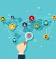 Social Network Concept Flat Design for Web vector image