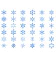 Big set of 36 blue snowflakes vector image