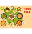 Healthy dinner dishes icon for food design vector image