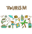 hand drawn doodle set with summer holiday icon vector image