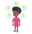 thinking african-american girl with question marks vector image vector image