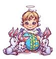 Cartoon cute angel ant sweet rabbits vector image