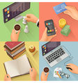 Workplace background flat design set vector image
