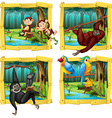 Wild animals in wooden frame vector image vector image