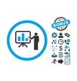 Bar Chart Presentation Flat Icon with Bonus vector image